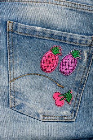 Pink fruit embroidered patches