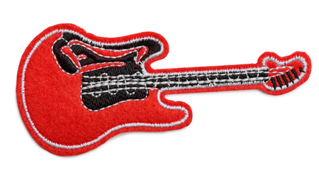 Red electro guitar fabric patch