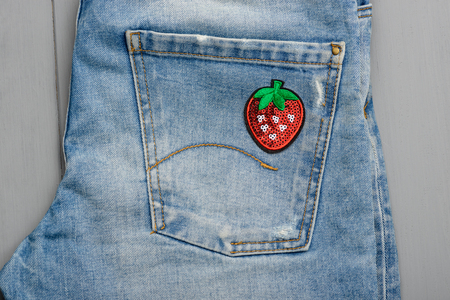 Strawberry sequin patch Stockfoto
