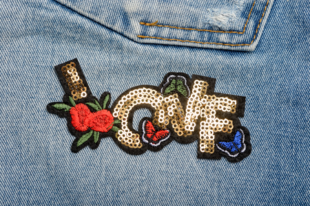 Love sequin patch Stock Photo