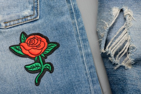 Red rose embroidered patch Stock Photo