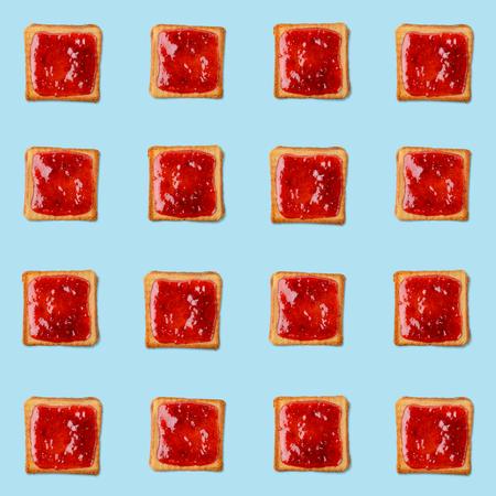 Raspberry jam toast pattern Stockfoto - 119920114