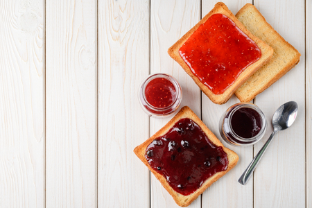 Toasted bread with jam 스톡 콘텐츠