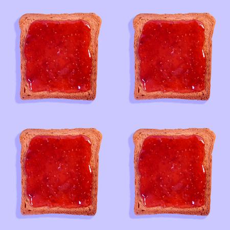 Raspberry jam toast pattern Stockfoto