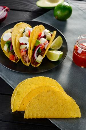 Tacos and corn tortillas