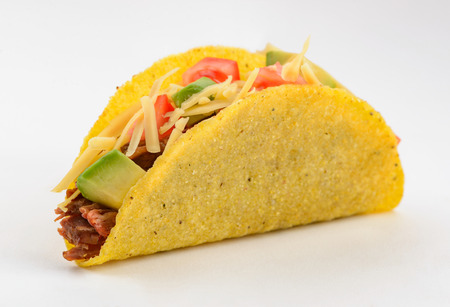 Taco on white background