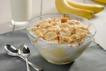 Bowl of homemade cream dessert Stockfoto