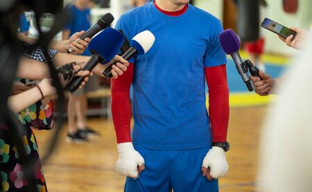 Sportsman giving an interview