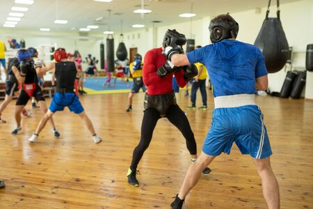 Professional boxing fighters training Imagens