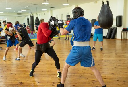 Sparring partners training in club