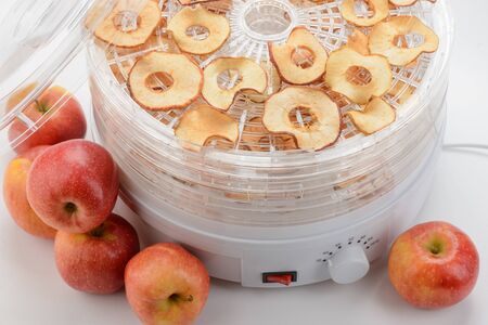 Fresh apples and dried slices. Drying foods with an electronic dehydrator. Cooking, recipes, vegan snacks.