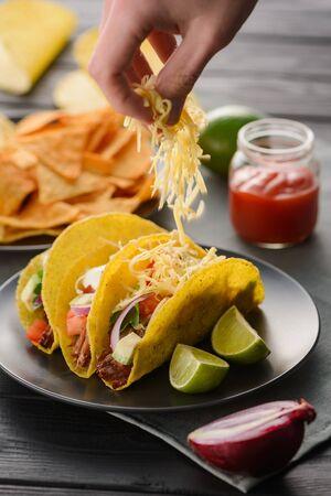 Cooking hard-shell tacos Stock fotó