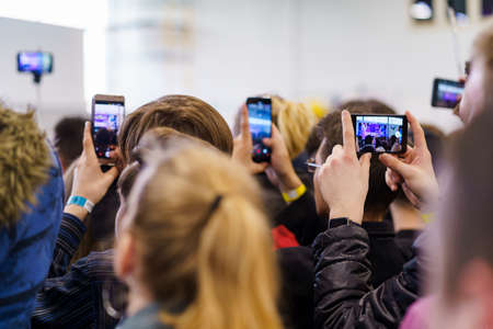 Crowd with mobile phones