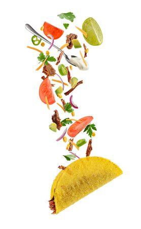 Flying ingredients of taco Stock fotó