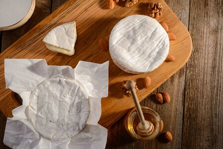 Top view on camembert cheese