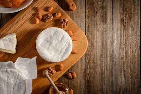 Camembert cheese, almond, walnuts