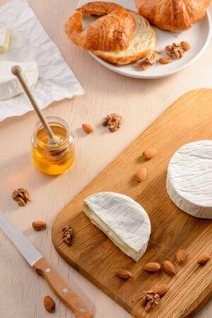 Camembert cheese, almonds, walnuts