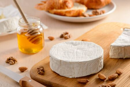 Camembert cheese with a rind
