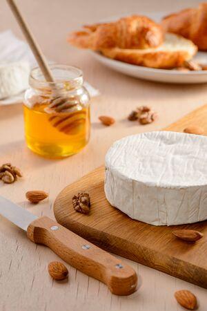 Honey, cream cheese and nuts. Stock Photo