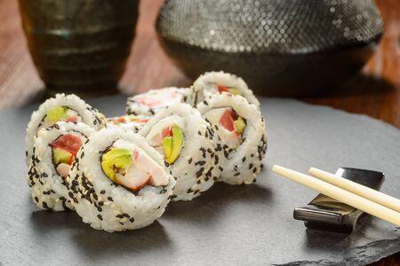 Smoked chicken sushi rolls