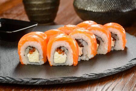 Sushi on slate cheese board
