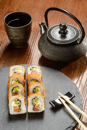 Salmon and Unagi sauce rolls