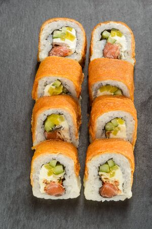 Eel and pickled radish rolls