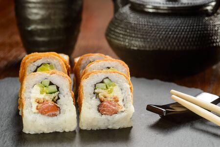 Eel and smoked salmon rolls