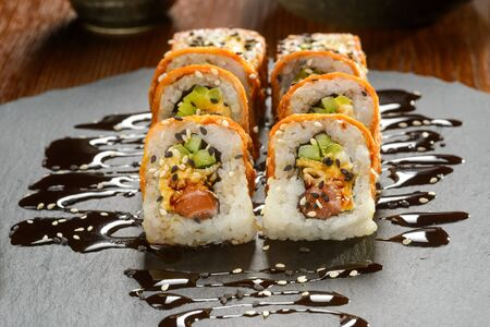 Rolls sprinkled with soy sauce