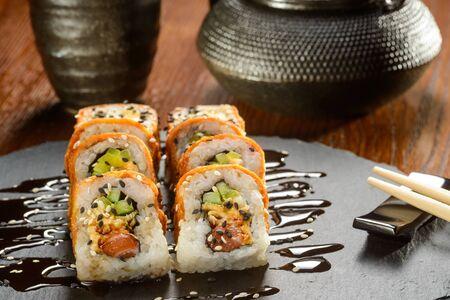 Eel and cream cheese rolls 스톡 콘텐츠