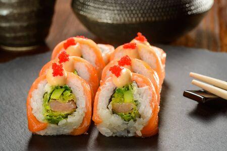 Salmon and avocado sushi rolls