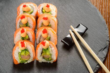 Shrimp rolls and chopsticks 스톡 콘텐츠