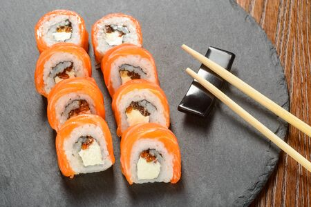 Cream cheese sushi rolls 스톡 콘텐츠