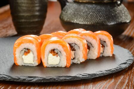 Sushi with red caviar 스톡 콘텐츠