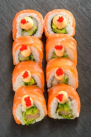 Shrimp and avocado sushi rolls 스톡 콘텐츠