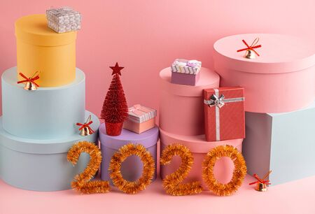 Happy New Year 2020. Beautiful festive art on pink background Stock Photo