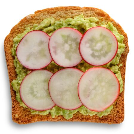 Toast with mashed avocado and sliced radish
