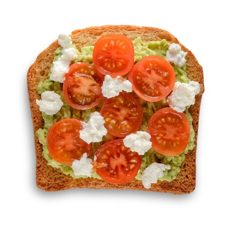 Toast with mashed avocado, cherry tomato and ricotta. Yummy snack isolated on white background.