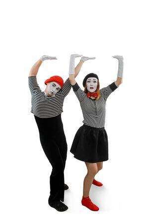 Portrait of mime performers, isolated on white Banco de Imagens
