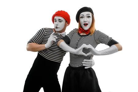 Romantic couple of mimes, isolated on white Banco de Imagens