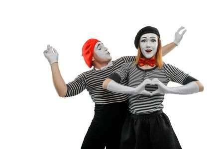 Two mimes on white background. Mime actress with excited face