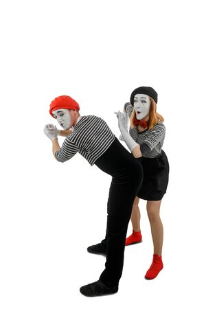 Pantomime sketch of two mimes. Man and woman as mime artists