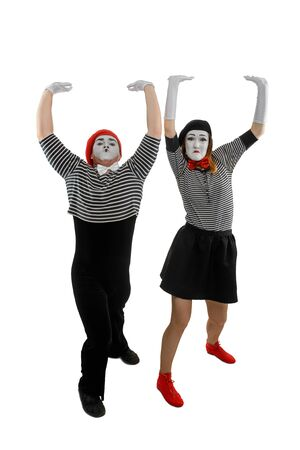 Funny mimes, isolated on white. Man and woman Banco de Imagens