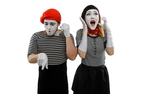 Mimes talking on the phone. Man dials a womans number