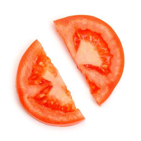 Two halves of a tomato slice on white background Stock fotó - 142420211
