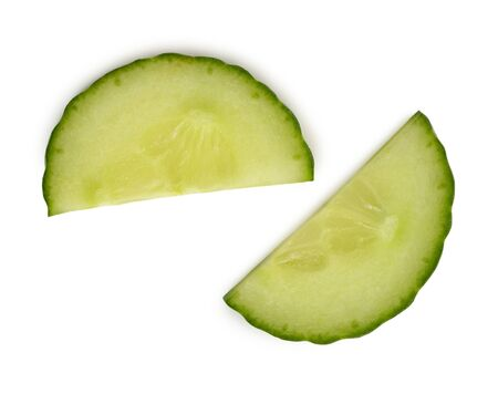 Two cucumber half moon slices on white background. Stock fotó - 142420180