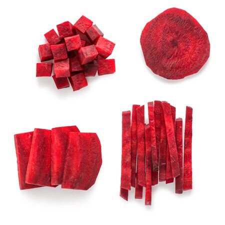 Beetroot cut in four different styles. Slices, cubes and stick pieces on white background, top view.