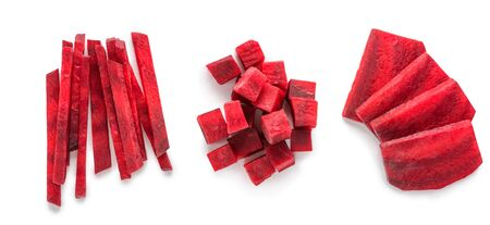 Sliced and chopped beetroot on white background