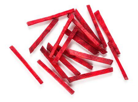 Fresh beetroot sticks isolated on white background Stock fotó
