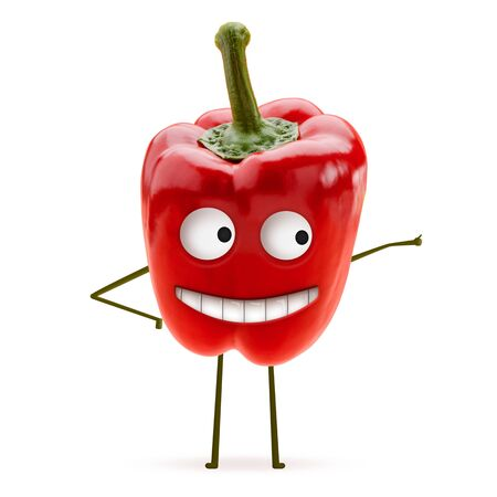 Red bell pepper with cheerful smile showing a thumb up on white background. Funny and cute art. Natural food, healthy and lifestyle. Stock fotó
